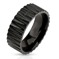 Primal - FINAL SALE Zig zag cut carved matte black IP stainless steel ring