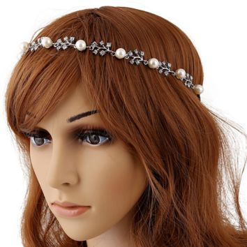 Fashion tide range of diamond studs pearl hair belt