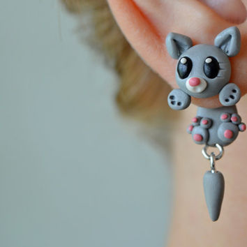 grey cat earrings,animal clinging earrings,front back earring,double side stud,unique ear jacket,two part earring,polymer clay dangling post