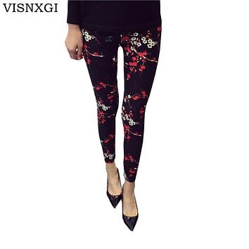 Womens Print Flower Leggings Plaid Thin Pants Fashion Trousers