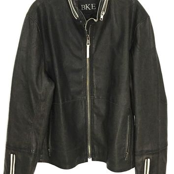 BKE Buckle Dark Brown Pleather Faux Leather Motorcycle Jacket Moto Cafe Men's Large - Preowned