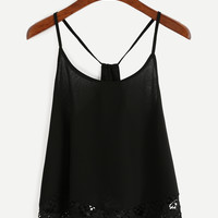 Black Lace Trimmed Racerback Chiffon Cami Top