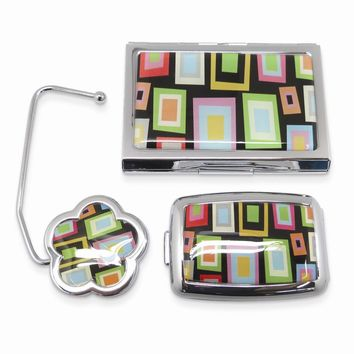 Mirror Pillbox and Handbag Hook In Geometric Design