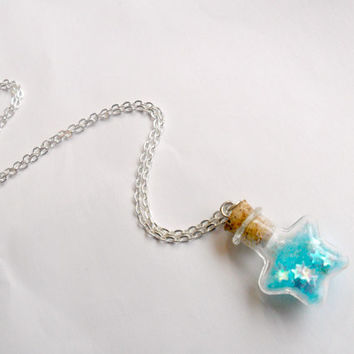 Fairy Kei Glitter Wishing Stars Bottle Charm Necklace, Choice of Colors, Silver Plated or Surgical Stainless Steel Chain, Cute & Kawaii :D