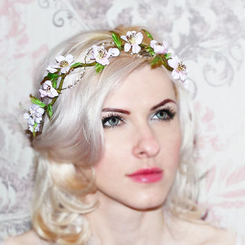 Cherry blossom crown, bridal headband, Floral wedding headpiece, silk flower, bridal hair flower, rustic wedding, handmade hair accessories