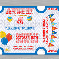 PRINTED - Carnival Circus Theme Invitation - Personalized Custom Birthday Party Invitation. 24hr turn around.  Choose size - 5x7 or 4x6