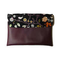 Purple ipad case, ipad cover, purple vegan leather with birds and nature, padded case