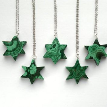 Malachite Necklace Malachite Pendant Malachite Jewelry Green Star Necklace Malachite Star Pendant Silver Star Jewelry Green Stone Necklace