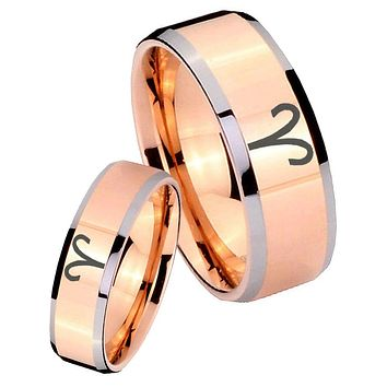His Hers Rose Gold Beveled Aries Zodiac 2 Tone Tungsten Wedding Rings Set