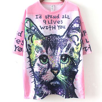 Cat Color Printing Sequins Beaded Loose Short-sleeved T-shirt Top F0366-1 Red
