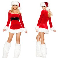 Women Fashion Long Sleeve Mini Dress Christmas Clothes Party Uniform Set