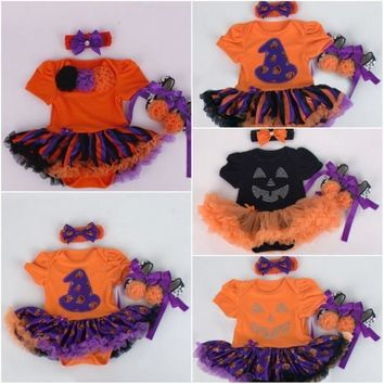 2018 Baby Girl Halloween Clothing Sets Pumpkin tutu Romper Dress+Shoes+Headband Infant 3pcs Set Toddler Jumpsuit Costumes