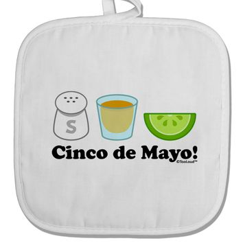 Cinco de Mayo Design - Salt Tequila Lime White Fabric Pot Holder Hot Pad by TooLoud