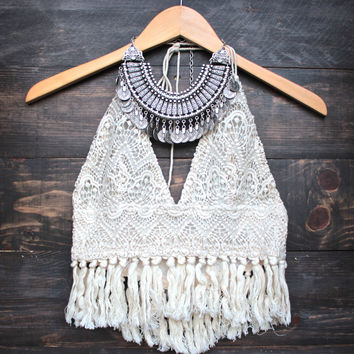 boho fringe on the way halter crop top - sand