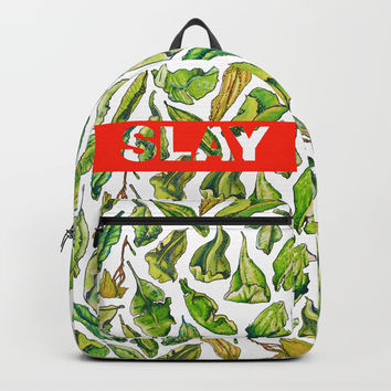 slay tea slay! // watercolor tea leaf pattern with millennial slang Backpack by Camila Quintana S