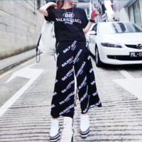 """Balenciaga"" Women Casual Fashion Letter Print Short Sleeve T-shirt Wide Leg Pants Set Two-Piece H-AGG-CZDL"