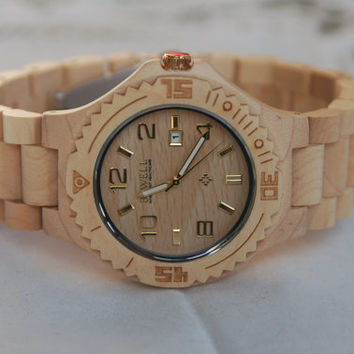Wooden Watch For Women or Men Sandal Wood Watch Wrist Bracelet Quartz Vintage Watch With Calendar Round Dial Gift(W01029)