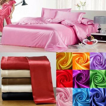 100% Luxury Silk duvet cover soft silk satin color bedding set bedclothes,sabanas,bed linen home textile,bed flat sheet