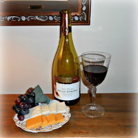 Wine Set Gallo Sonoma Bottle, Glass, Cheese & Crackers, Cork, Grapes Faux Food Memento Prop
