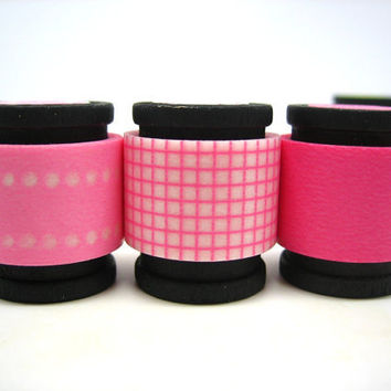 Japanese Washi Masking Tape Trio -  Pink Cotton Candy (5 feet each, 15 feet total)