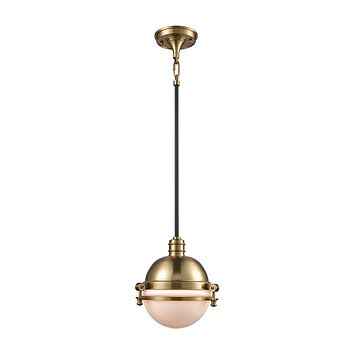 16070/1 Riley 1 Light Pendant In Satin Brass And Oil Rubbed Bronze