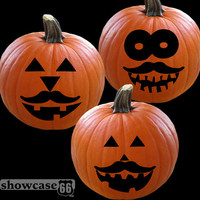 Mustache Pumpkin Grins I - Set of 3 Decals - Vinyl Art - Jack-O-Laterns, Halloween, Season, DIY - FREE Shipping
