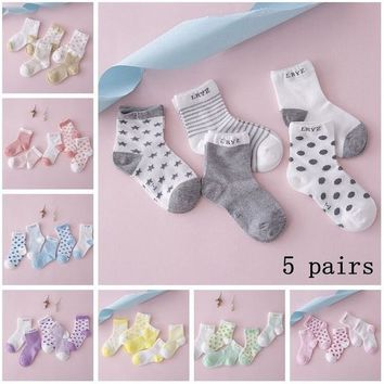 5 Pairs Baby Boy Girl Cotton Cartoon Newborn Infant Toddler Kids Soft Sock