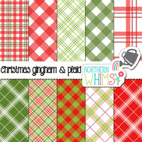 Christmas Plaid Digital Paper Pack – red and green plaid and gingham printable papers – holiday plaid – Christmas paper - commercial use