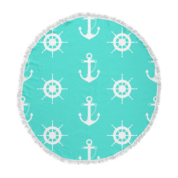 "afe images ""Anchor And Helm Wheel"" Teal White Illustration Round Beach Towel Blanket"