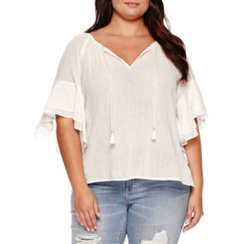 Boutique+™ Ruffle-Sleeve Textured Blouse - Plus