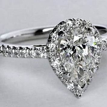 2.35ct Pear Shape Diamond Engagement Ring EGL certified 18kt White Gold JEWELFORME BLUE