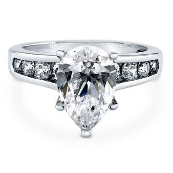 A Flawless 3CT Pear Cut Russian Lab Diamond Channel Set Accent Engagement Ring