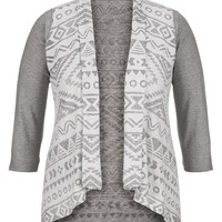 Plus Size - Contrast Sleeve Patterned Cardigan - Gray