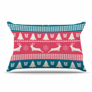 """Famenxt """"Christmas Blue Red"""" Blue Red Illustration Pillow Case"""