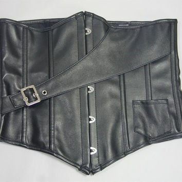Black Leather Underbust Corset