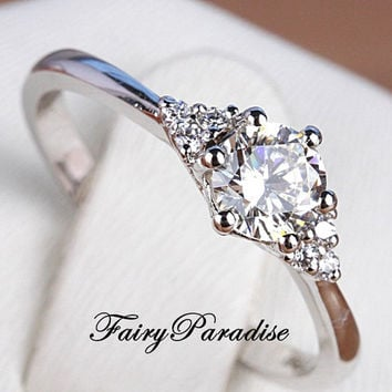 1 Ct Round Cut Man Made diamond with 3 Side Stones Each Side Engagement Wedding Promise Ring with gift box - made to order (FairyParadise)
