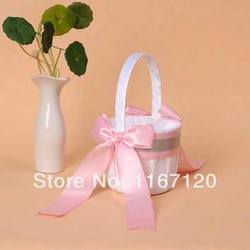Free Shipping,2pcs/lot White and Pink Silver Bowknot Satin Wedding Flower Girl Basket wedding favors(N03)