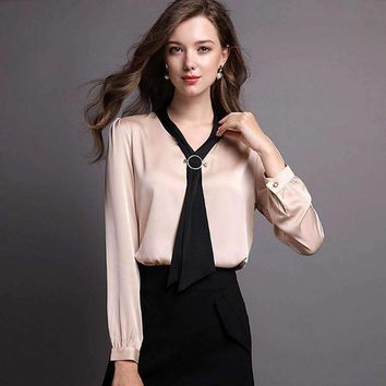 Silk Blouse Women Shirt Solid Bow V Neck Long Sleeves 2 Colors Office Top Graceful Style