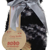 Lot of 6 Pairs Nobo Cozy Socks Black No Boundaries 4-10 Women Crew Fuzzy Warm