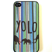 Hipster YOLO You Only Live Once Striped Aztec Elephant iPhone 5 Quality Hard Snap On Case for iPhone 5/5s - AT&T Sprint Verizon - Black Frame