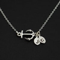 Anchor Necklace Sideways Jewelry Initials Personalized Marine Mo - Vivian Feiler Designs | Wedding