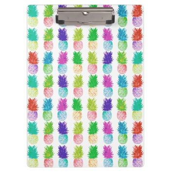 Colorful pop art painting pineapple pattern clipboard