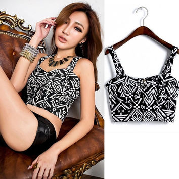 Fashion Women Floral Bustier Strap Backless Crop Party Corset Zipper Tank Tops A_L = 1658500612