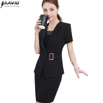 Summer new fashion temperament women skirt suit Elegant formal short sleeve blazer and skirt office ladies plus size uniforms