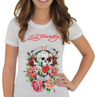 Ed Hardy Christian Audigier Love Dies Hard Women's Tattoo Tee Shirt