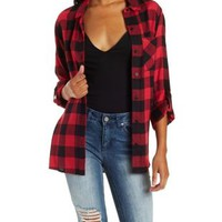 Red Combo Button-Up Plaid Top with Pocket by Charlotte Russe