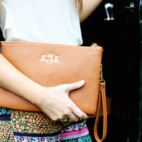 Large Monogrammed Cross Body Clutch