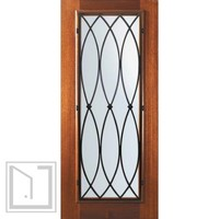 Slab Single Door 80 Wood Mahogany La Salle Full Lite Wrought Iron