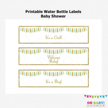 Mint and Gold Water Bottle Labels Baby Shower, Printable Baby Shower, Tassels, Baby Girl, Baby Boy, Gender Neutral, Instant Download, TASMG