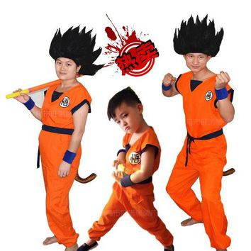 ONETOW Dragon Ball Kids Costumes The Monkey King Anime Z Monkey Cosplay Costumes Boys Son Goku Clothing Children's Halloween Costume